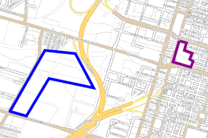 Savannah's current Civic Center is outlined in purple. Westside parcels owned by the city are outlined in blue.