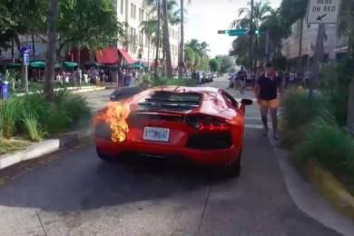 lamborghini aventador bryder i brand
