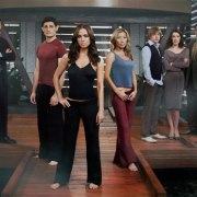 The cast of Dollhouse on the Dollhouse set