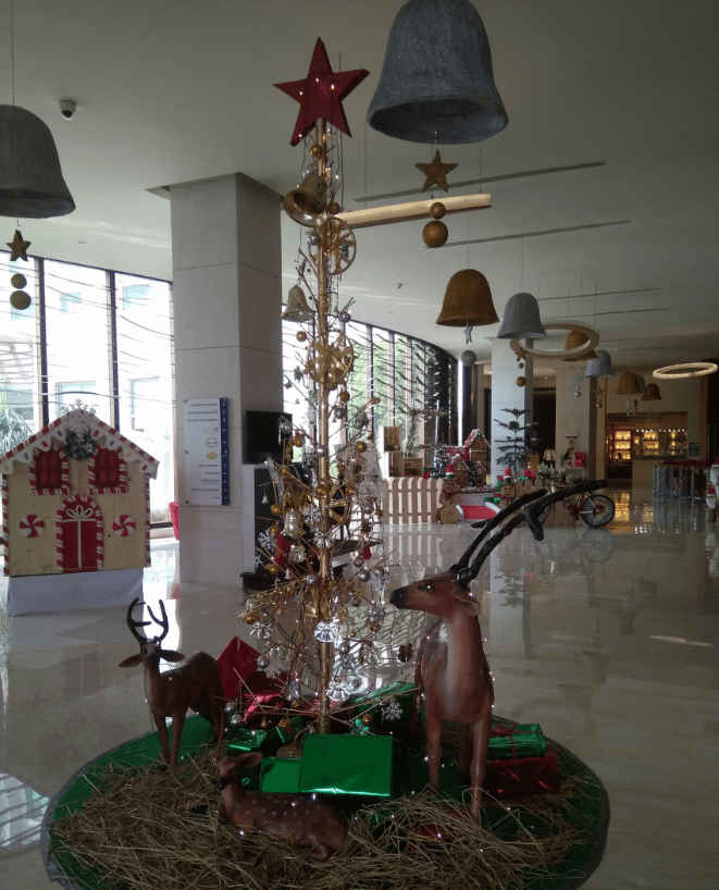 Beautiful Christmas decorations in the lobby