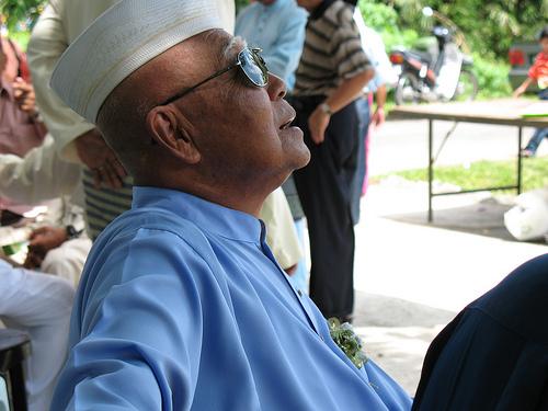 Elderly man at wedding
