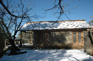 Walnut cottage after snowfall.