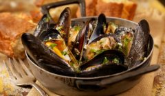 Mussels in a Butter and White Wine Sauce with Garlic, Pepper and Fresh Parsley -Photographed on Hasselblad H3D2-39mb Camera