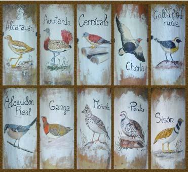 Bird tiles at Rincón del Cierzo