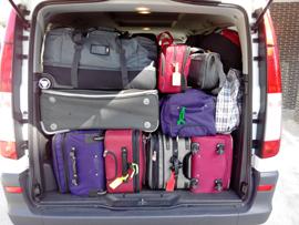 Packing the bird tour van