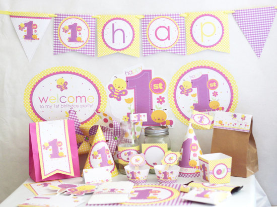 Girl 1st Birthday Decorations Printable - Butterfly Birthday
