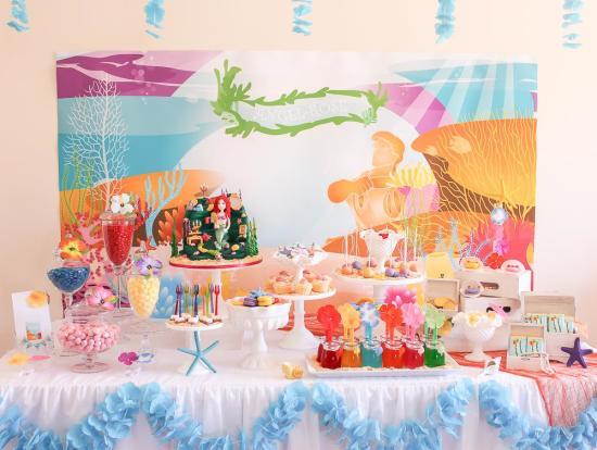 Ariel Mermaid inspired birthday party dessert table