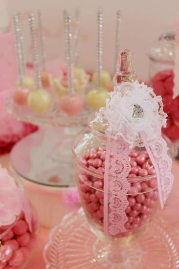 Bling Princess First Birthday Party candies in jars