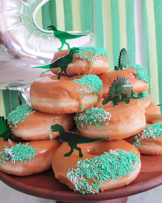 Green perspex dinosaur cup cake toppers decoration