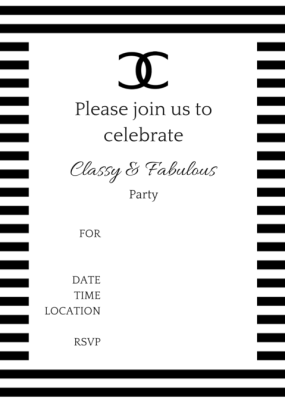 FREE Printable COCO Chanel Party Invitations