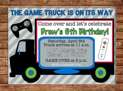 Boy Video Game Truck RV Bus Arcade Birthday Invitation