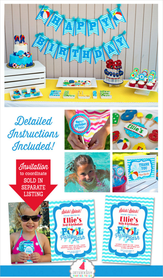 Pool Party Decorations | Swimming Pool Birthday Summer Birthday Party  Beach Birthday