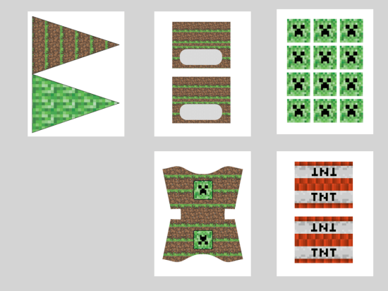 Free Minecraft Party Printable Food Labels Cupcake Toppers