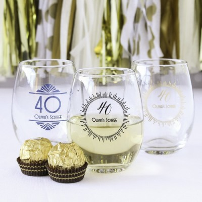 40th Personalized 9 oz. Birthday Stemless Wine Glass