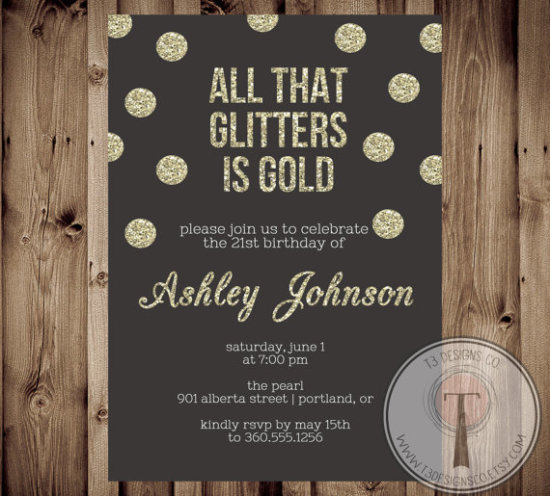 All that Glitters is Gold birthday invitation