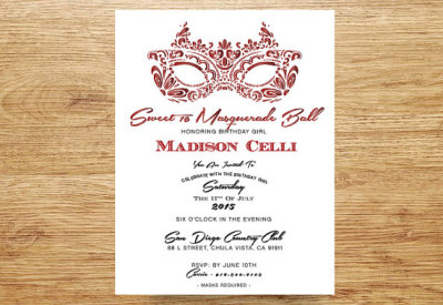 Masquerade Party Invitation, Sweet 16, Quinceanera Invitation, Ruby Red and White, Mask Invite