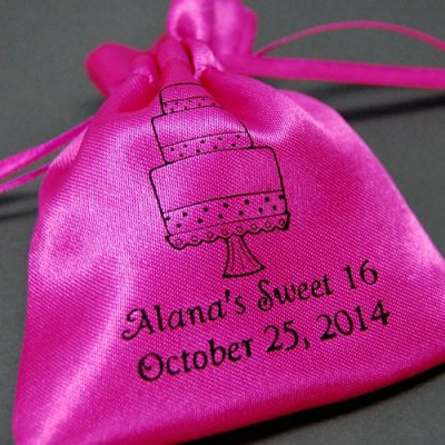 Personalized Color Satin Birthday Favor Bag