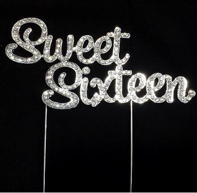 Silver Sweet Sixteen Rhinestone Cake Topper