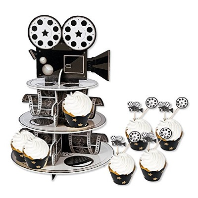 hollywood birthday party cupcake stand