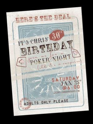 vintage Poker Casino night Invitation