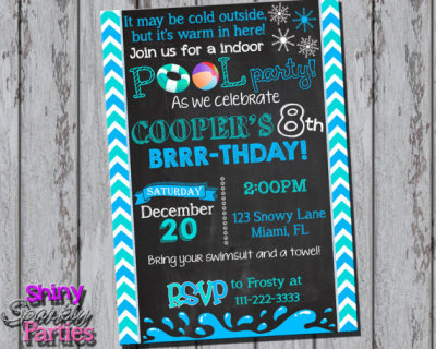 Printable WINTER POOL PARTY Invitation - Winter Birthday Invitation - Indoor Pool Party Invite