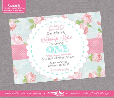 Shabby chic party ideas birthday party ideas themes shabby chic birthday invitation vintage floral pink blue girl first birthday 1st filmwisefo