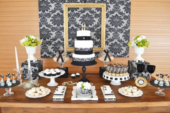 black-damask-70th-birthday-party-main-table