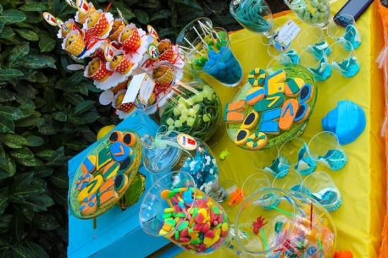 Colorful Beach Birthday Party snacks lollies cookies