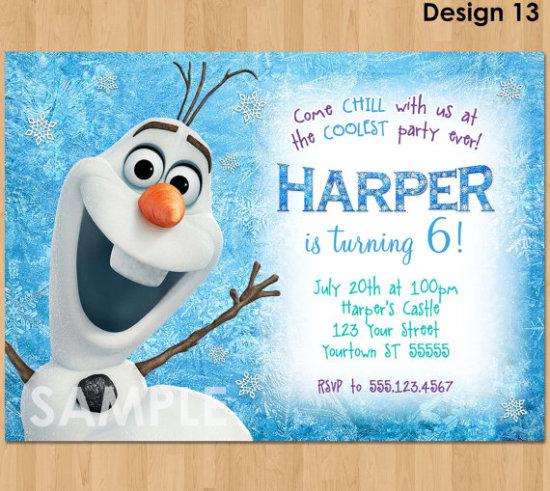 Olaf Invitation, Frozen Olaf Birthday Invitation, Printable Frozen Invitation