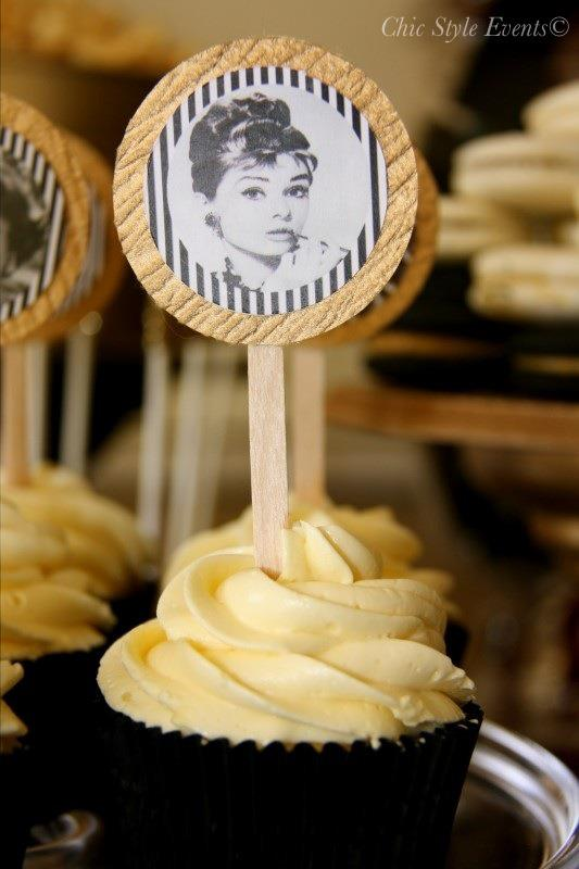 40th Hollywood Glam Party cupcakes with audrey hepburn
