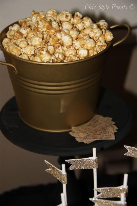 40th Hollywood Glam Party popcorn, hollywoord party