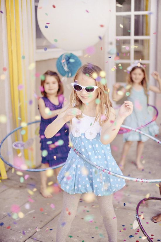 Confetti Hula Hoop Birthday Party ideas