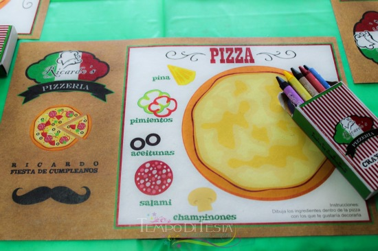 pizza party table setting with personalized activities