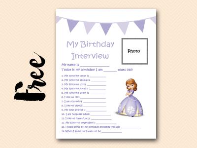 sofia curious-george free printable birthday interview, birthday games, birthday activity #birthday #party