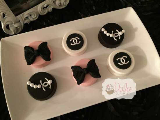 COCO Chanel inspired birthday party cookies