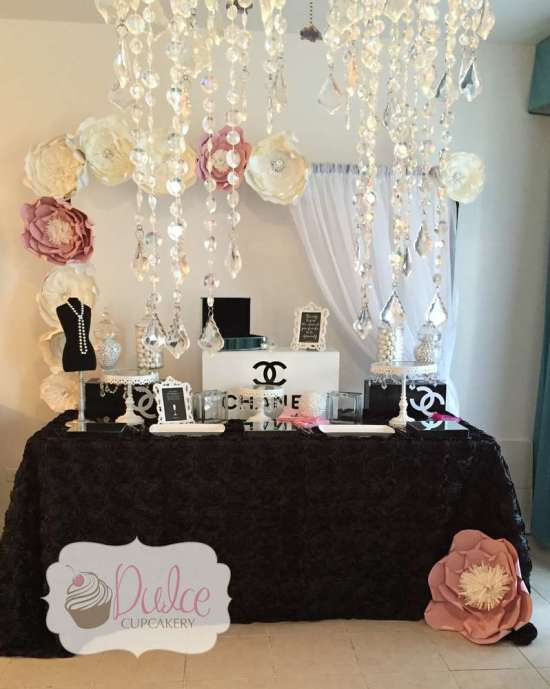 COCO Chanel inspired birthday party decorations, main table