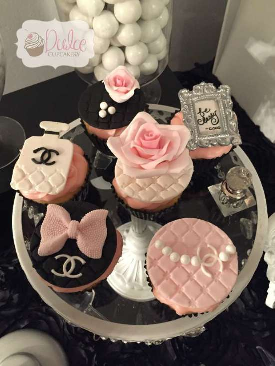 COCO Chanel inspired birthday party treats, pink and black stripes