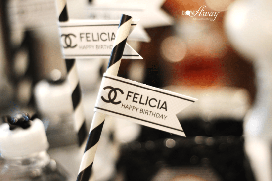 Fabulous and Classy Coco Chanel Party straw toppers