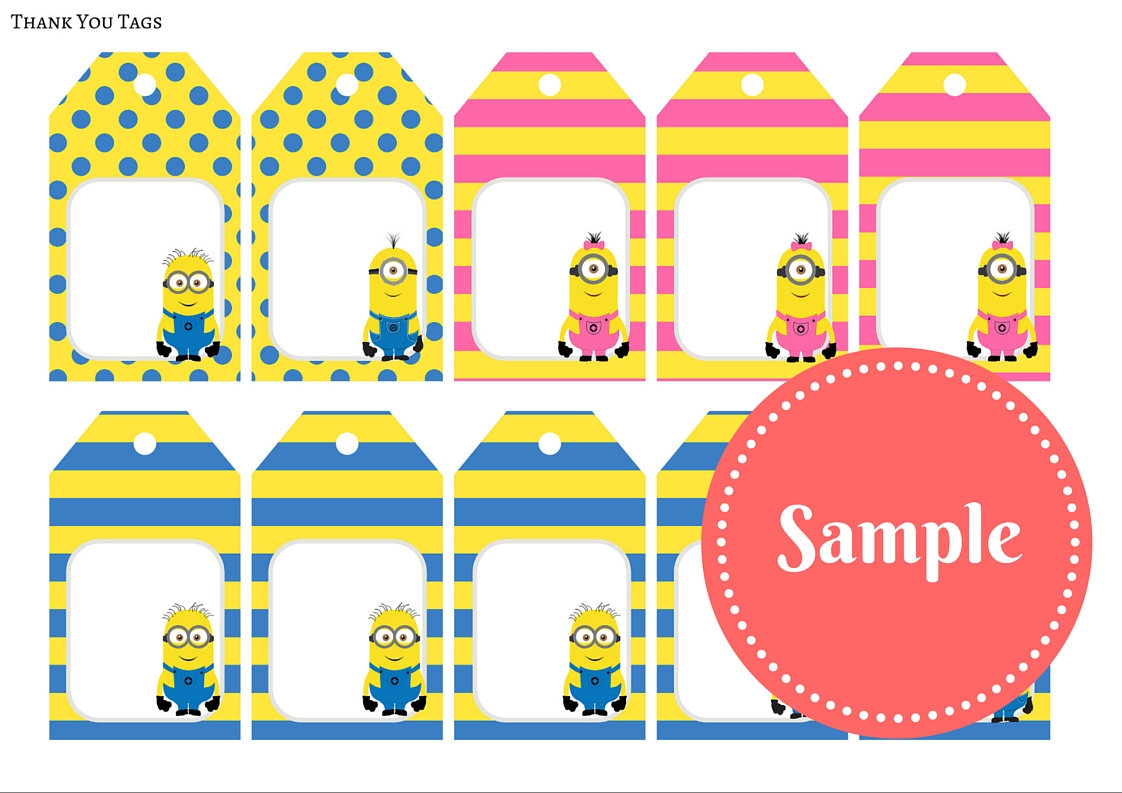 A4 Free Despicable Me Yellow Pink Minon Party