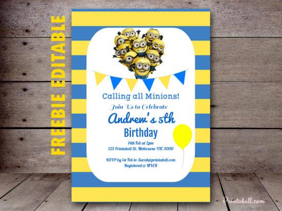 free minion invitation template - Akba.greenw.co