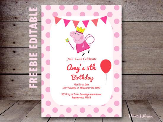 free peppa pig invitation editable princess peppa