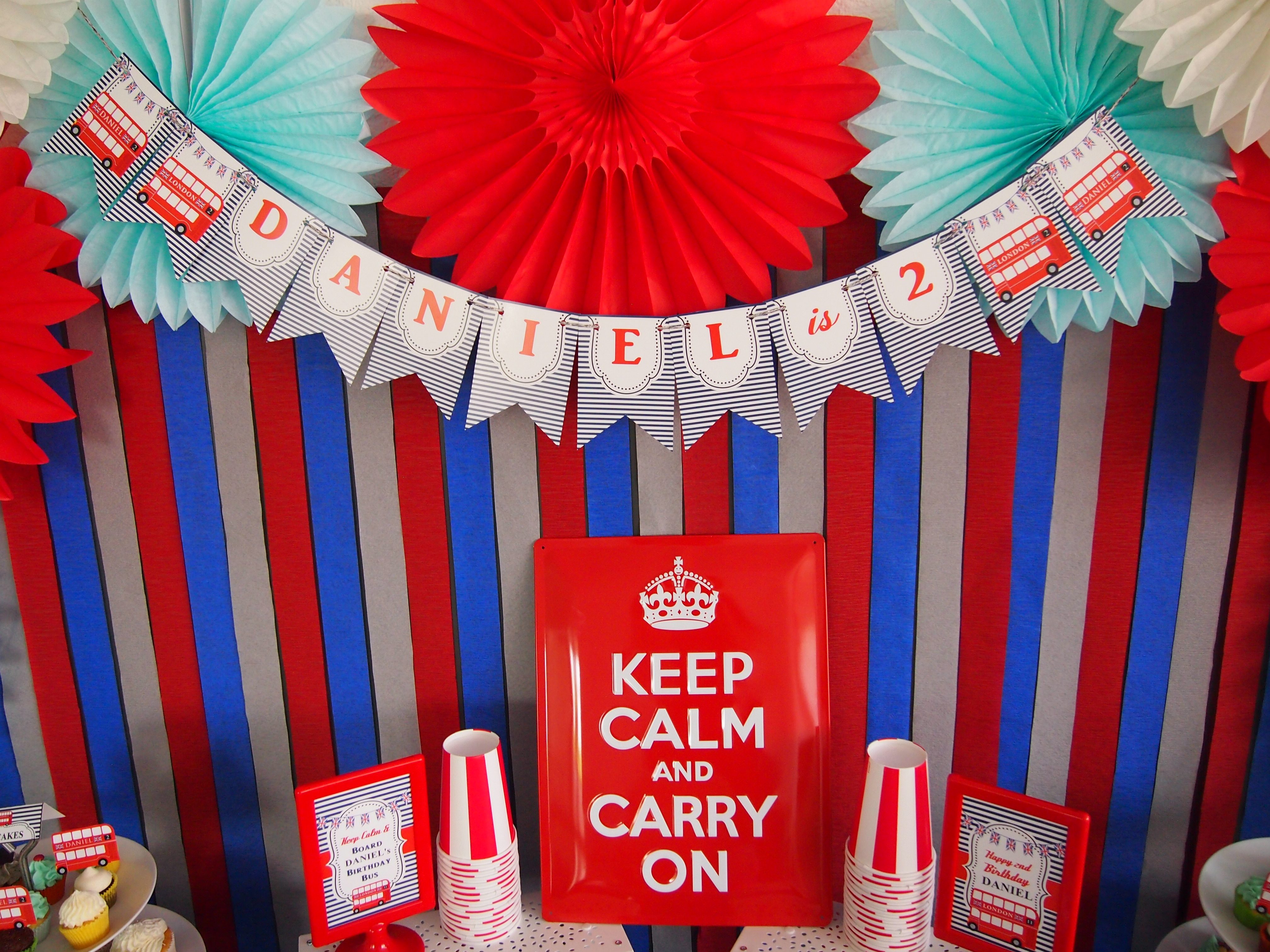 red and blue london bus birthday