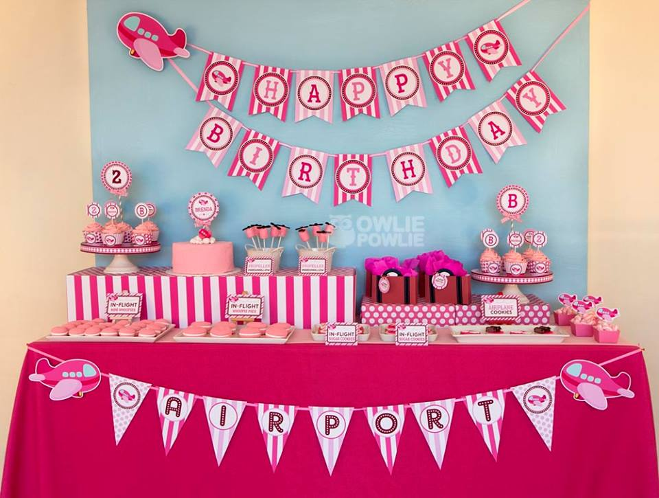 pink airplane birthday party