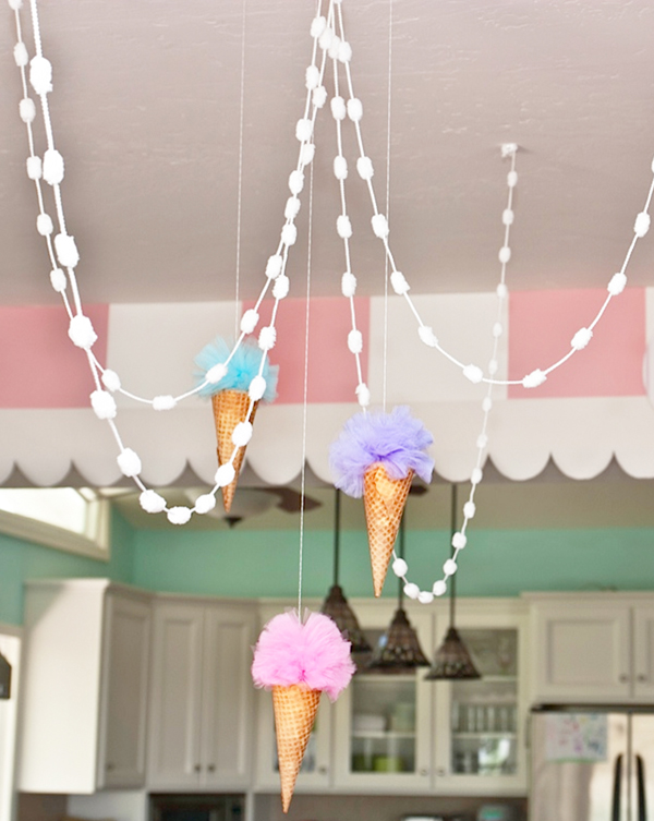 Pastel Ice Cream Parlor Party Hanging Decorations Ice Cream Cake With Ice Cream Sandwiches