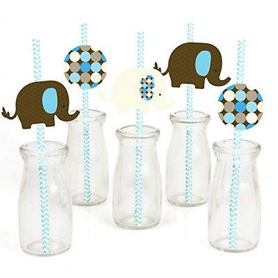 Blue-Elephant-Straw-Decoration-Kit party theme
