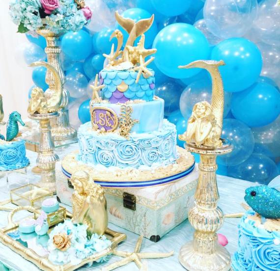 Magical-Little-Mermaid-Birthday-Blue-Cake