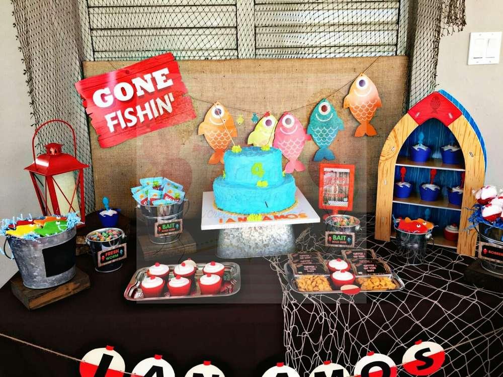 Charming gone fishing birthday party birthday party for Fishing birthday party ideas