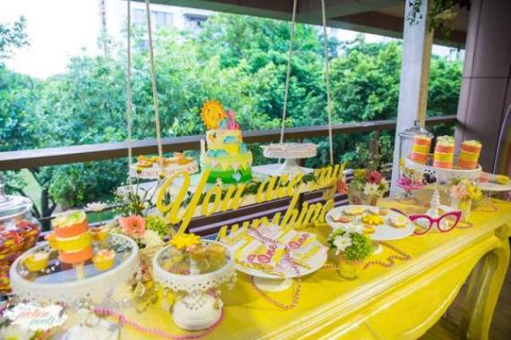 Whimsical-You-Are-My-Sunshine-Birthday-Dessert-Table
