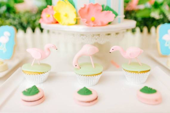 Tropical-Flowers-And-Flamingos-Birthday-Cupcakes