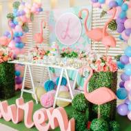 Tropical-Flowers-And-Flamingos-Birthday-Dessert-Table